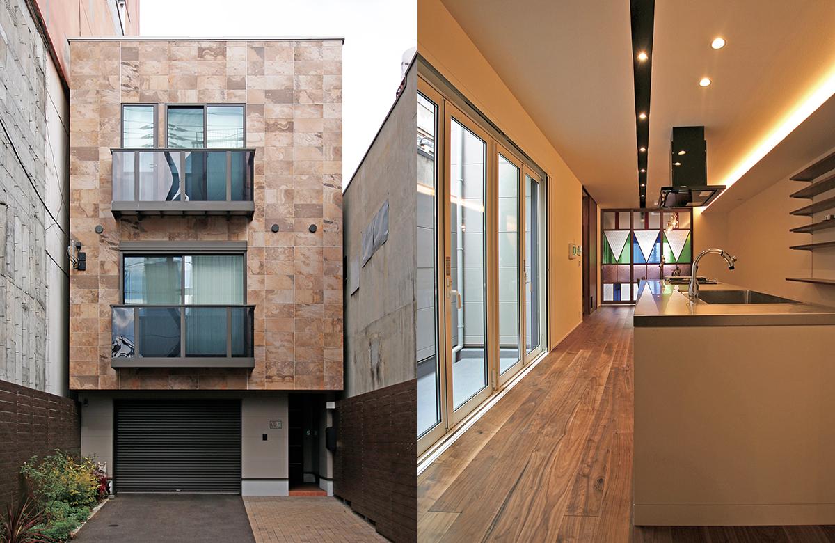 外壁の素材感を生かしたシンプルなファサード