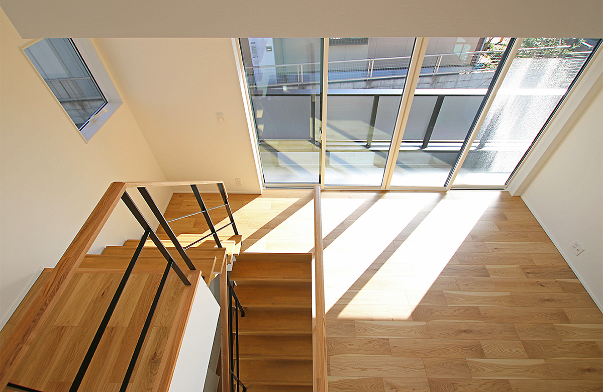 中2階ファミリースペース、南から光が差し込みます。